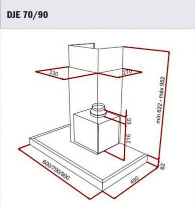 Lưu ý về kích thước lắp đặt máy hút mùi Teka DJE 70/90