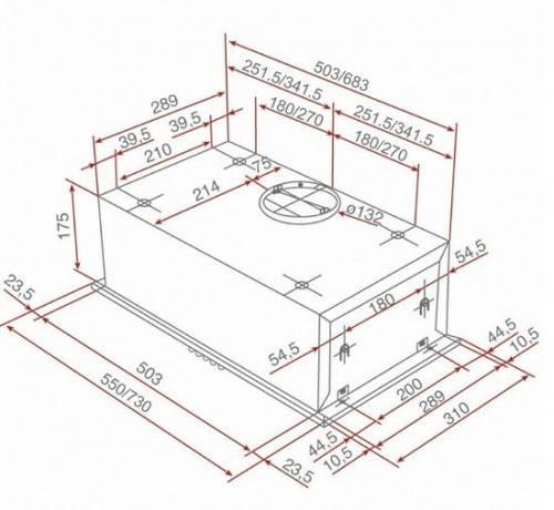 Lưu ý về kích thước lắp đặt máy hút mùi Teka GFH 55