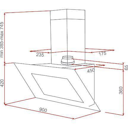 Lưu ý về kích thước lắp đặt máy hút mùi vát góc cánh kính Teka DVL 90