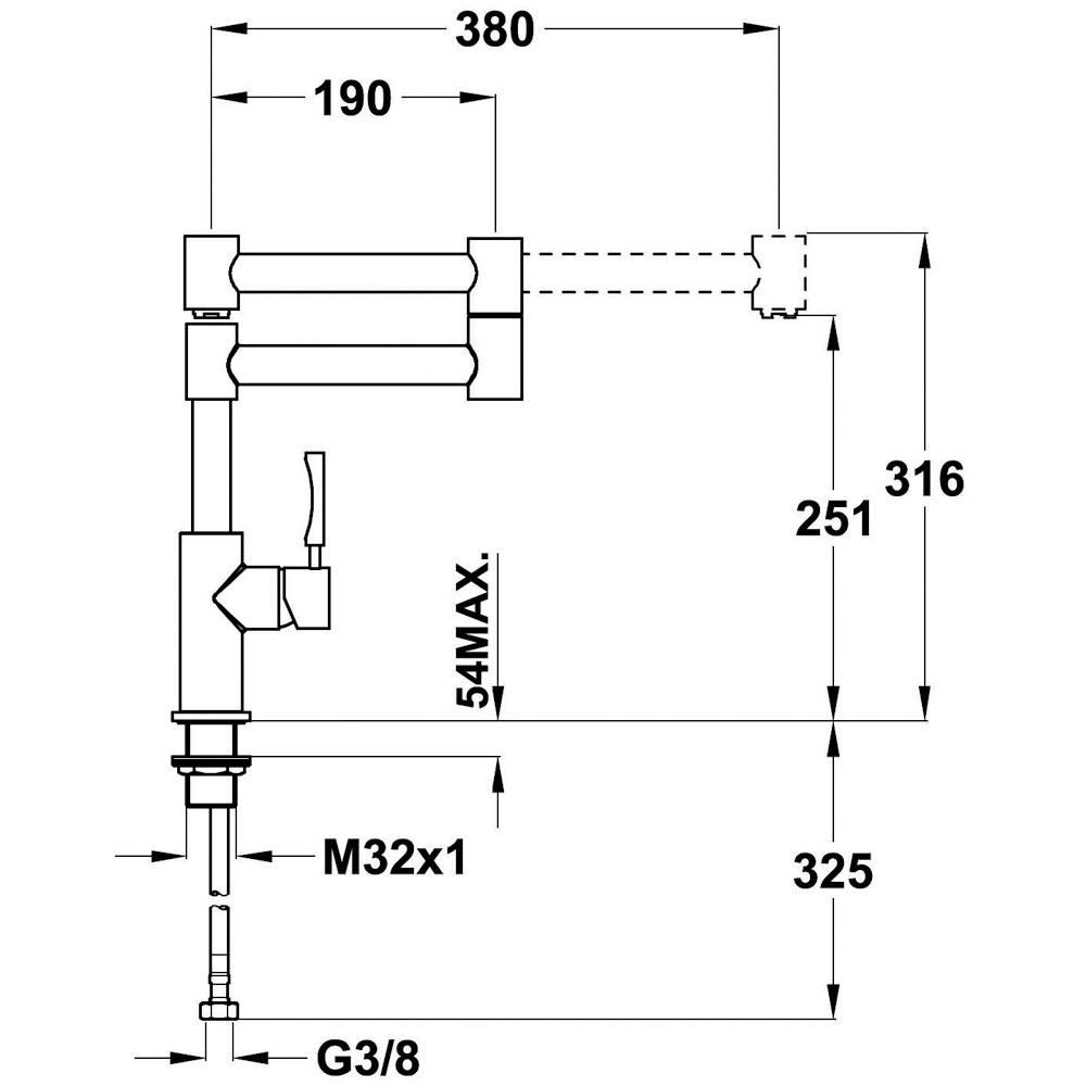 Kích thước lắp đặt vòi rửa chén đĩa nhập khẩu Teka INX 983